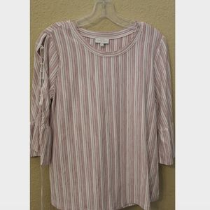 Lucky Brand Red Stripe Blouse with Lace Up Sleeves